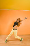 Red haired hip-hop dancer Royalty Free Stock Image