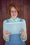 Red haired hipster using tablet Stock Photography