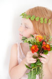 Red-haired kid with freckles and a diadem Stock Photos