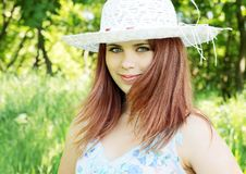 Red-haired l in  hat,(2).jpg Stock Photography