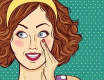 Red-haired lady, gossip and smile Royalty Free Stock Photos