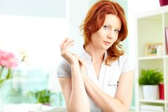Red-haired lady Stock Photos