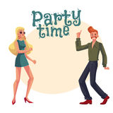 Red haired man, blond woman 1970s style clothes dancing disco Royalty Free Stock Images
