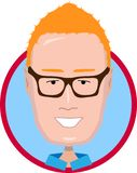 Red-haired man with glasses icon stock illustration
