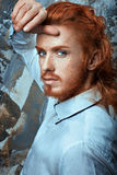 Red-haired man in white shirt metrosexual. Stock Images