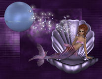 Red Haired Mermaid in Shell Background Stock Photography