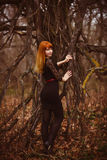 Red-haired model woman girl black dress autumn Stock Images