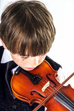 Red-haired preschooler boy with violin Royalty Free Stock Image
