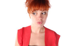 Red-haired pretty girl Stock Images