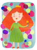 Red-haired princess. Cute red-haired princess in green dress Royalty Free Stock Image