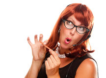 Red Haired Retro Receptionist Royalty Free Stock Photography