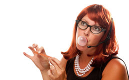 Red Haired Retro Receptionist Royalty Free Stock Photos