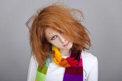 Red-haired rock girl in scarf. Stock Image