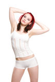 Red haired sexy woman in white Royalty Free Stock Image