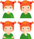 Red-haired sick girl with flu mask, thermometer and handkerchief Stock Photo