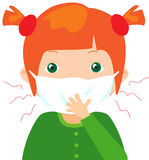 Red-haired sick girl with flu mask Royalty Free Stock Photography