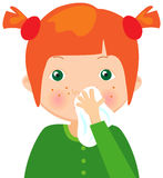 Red-haired sick girl with handkerchief Stock Image