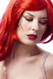 Red haired tattooed woman Royalty Free Stock Image