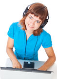Red-haired teen-girl listen to music Stock Photos