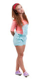 Red-haired teen girl in shorts. Royalty Free Stock Photography