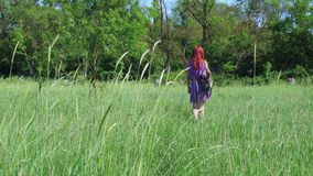 The red-haired girl in a lilac dress, with a backpack and a bag of medicinal herbs walks through a grassy meadow. stock footage