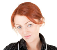 Red-haired trendy girl. Portrait of red haired girl on white Stock Photo