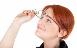 Red-haired trendy girl. Portrait of red haired girl with glasses Stock Images