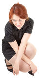 Red-haired trendy girl. Portrait of red haired girl on white Royalty Free Stock Images