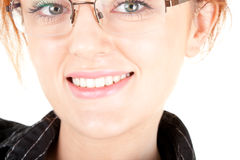 Red-haired trendy girl. Portrait of red haired girl with glasses Royalty Free Stock Image