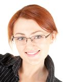 Red-haired trendy girl. Portrait of red haired girl with glasses Royalty Free Stock Photography