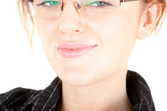 Red-haired trendy girl. Portrait of red haired girl with glasses Royalty Free Stock Photos