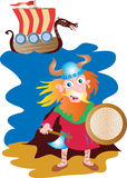 Red haired viking and longship. A cartoon illustration of a wild red haired viking with axe, shield and pointed antler helmet. A longship with decorated dragon Royalty Free Stock Photos