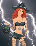 Red haired witch. Royalty Free Stock Photography