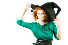 Red-haired witch Stock Images