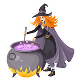 Red-haired witch making magical potion in a cauldron. Vector illustration isolated on white. Royalty Free Stock Images