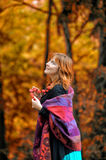 Red-haired woman in the autumn Stock Photo