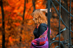 Red-haired woman in the autumn park Stock Image