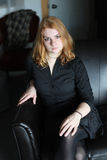 Red Haired Woman in Black Button-Down Shirt Royalty Free Stock Images