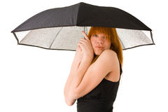 Red haired woman in black dress with umbrella. Isolated on white Royalty Free Stock Image