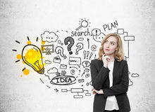 Red haired woman, business idea and light bulb Stock Images