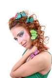 Red-haired woman with butterflies on her head Stock Photo