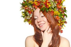Red haired woman close up face portrait Royalty Free Stock Images