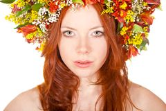 Red haired woman closeup face portrait Royalty Free Stock Photos