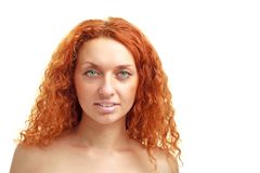 Red haired woman with copyspace Royalty Free Stock Image