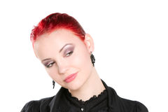 Red haired woman curiously looking Royalty Free Stock Photography