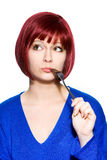 Red-haired woman expression - hungry with empty fork Stock Photos