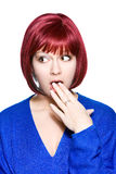 Red-haired woman expression - surprise Stock Images