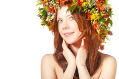 Red haired woman with flower wreath on head Royalty Free Stock Photo