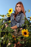 Red Haired Woman Outdoors in a Sunflower Field Stock Photography