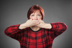 Red-haired woman, Portrait, not speaking Stock Photo